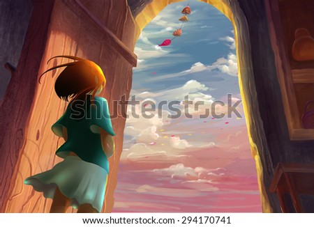 Illustration: Illustration: The Girl Lived by the Sea. Song of the Sea Series. Removed the Flying Whale. Fantastic / Realistic / Cartoon Style. Wallpaper / Background / Scene Design - stock photo