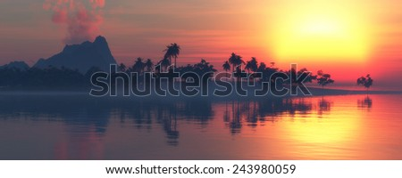 illustration in 3d of  Sun  and beach landscape  - stock photo