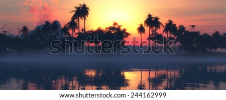 illustration in 3d of  Sun,volcano and beach landscape - stock photo