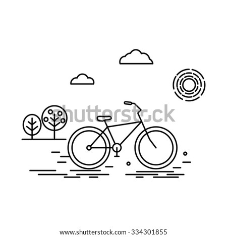 Illustration in linear style with bicycle and mountain. Logo,  poster or banner template.  Raster version - stock photo