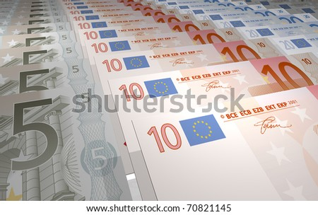 illustration in prespective of euro notes