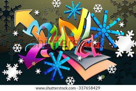 Illustration in style graffiti. Winter background with abstract white and blue snowflakes. Graffiti winter designs. - stock photo