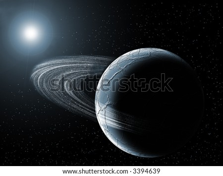 Illustration in the space with sun, planet and stars