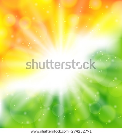 Illustration Indian Background in National Colors of Flag for Indian Holidays - raster - stock photo