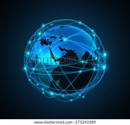 illustration Internet Concept of global business  - stock photo