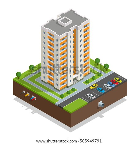 Illustration isometric icon or infographic elements representing town apartment buildings and houses with street roads and cars for city map creation