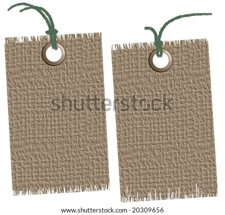 Illustration: jute labels, frayed. For the vector version see my portfolio please (click on my name) - stock photo