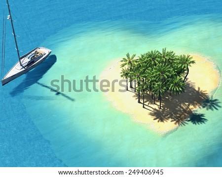 illustration landscape of  heart island in the ocean. 3d rendering - stock photo