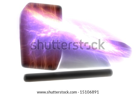 Illustration. Laptop with a gavel and electric bolt. - stock photo