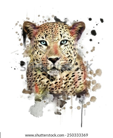 illustration leopard/T-shirt graphics/abstract watercolor like leopard/leopard graphics on a white background/wild leopard hunting/leopard print on canvas - stock photo