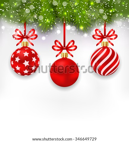 Illustration Light Wallpaper with Fir Twigs and Red Glassy Balls for Happy Winter Holidays - raster - stock photo