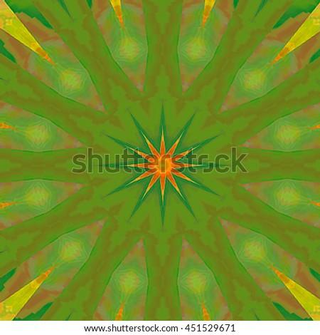 illustration lime neon green yellow orange flower kaleidoscope twist twirl spiral unique design pattern green background twist twirl spin pieces  - stock photo
