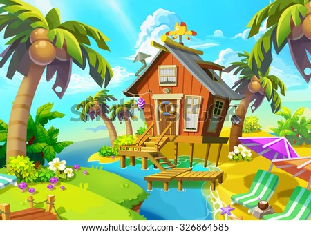Illustration: Little Cabin on the Island. Cabin, Coconut Tree, Beach Chair. Fantastic Realistic Cartoon Style Scene / Wallpaper / Background Design.  - stock photo