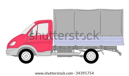 Illustration LKW truck with tent box