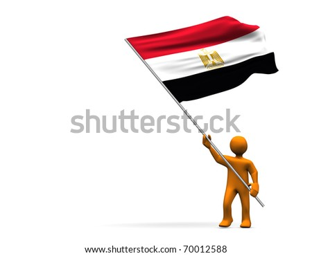 Illustration looks a fan with a big flag of Egypt - stock photo