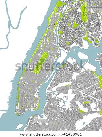 Vector Map New York City Ny Stock Vector 651095941 Shutterstock
