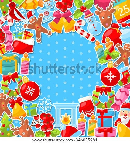 Illustration Merry Christmas Background with Traditional Colorful Objects - raster