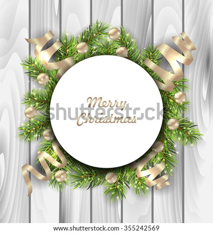 Illustration Merry Christmas Card with Fir Twigs, Balls and Serpentine, Wooden Background - raster - stock photo