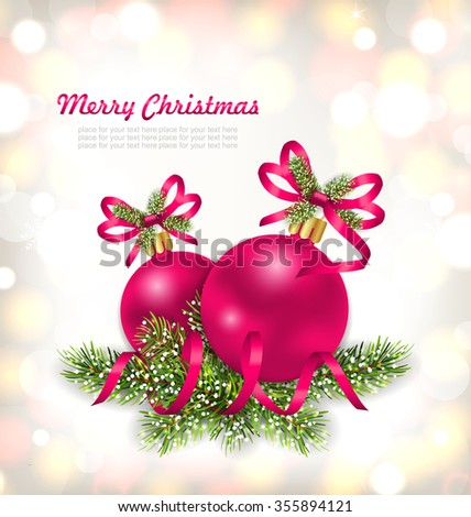 Illustration Merry Christmas Celebration Card with Glass Balls and Fir Branches - raster - stock photo