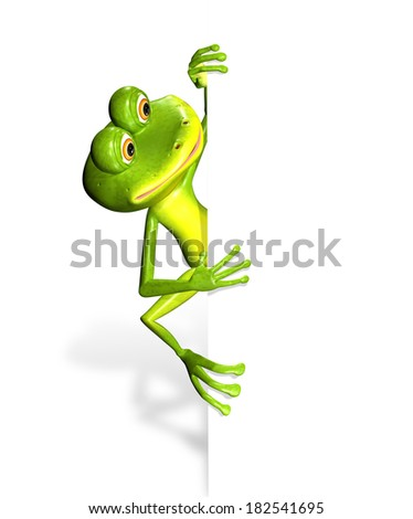 illustration merry green frog and white background - stock photo