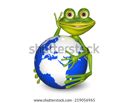 illustration merry green frog on a blue globe - stock photo