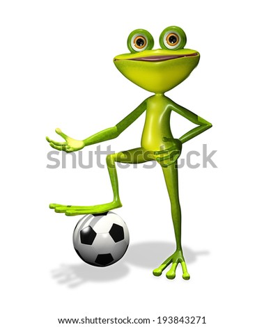 illustration  merry soccer player frog with ball - stock photo