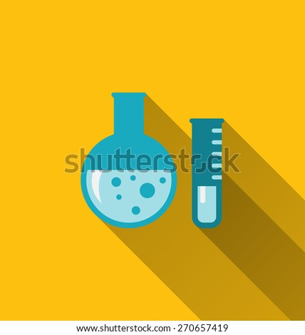 Illustration modern flat icons of chemical tubes with long shadows - raster - stock photo