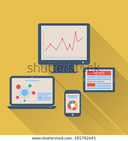 Illustration monitor, laptop, tablet computer, and mobile phone, flat icons with long shadows - raster - stock photo