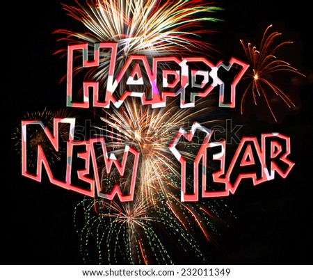 illustration motif of text spelling Happy New Year and fireworks for the new years eve celebration of the year 2015 - stock photo