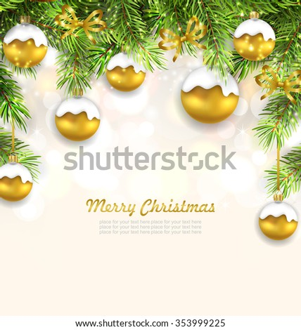 Illustration Natural Christmas Background with Fir Twigs and Glass Balls, Holiday Wallpaper - raster - stock photo