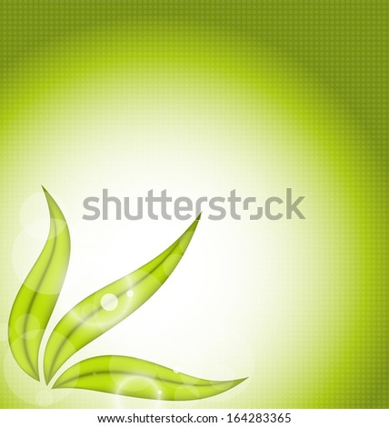 Illustration nature background with green leaves - raster