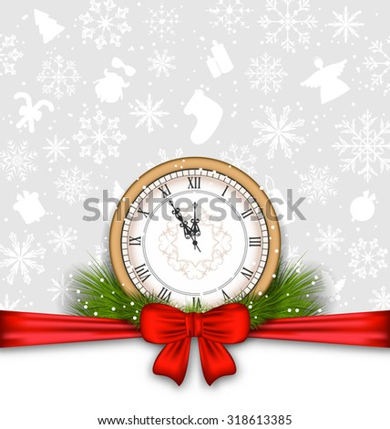 Illustration New Year Background with Clock, Fir Twigs and Bow Ribbon - raster - stock photo
