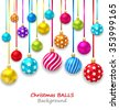 Illustration New Year Bckground with Set Colorful Christmas Ornamental Balls - raster - stock vector