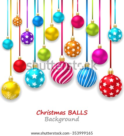 Illustration New Year Bckground with Set Colorful Christmas Ornamental Balls - raster - stock photo
