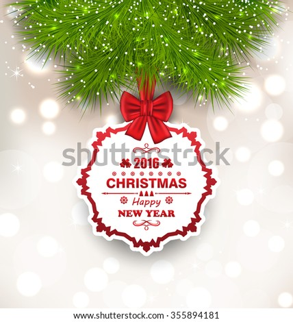 Illustration New Year Glowing Background, Christmas Greeting Card - raster