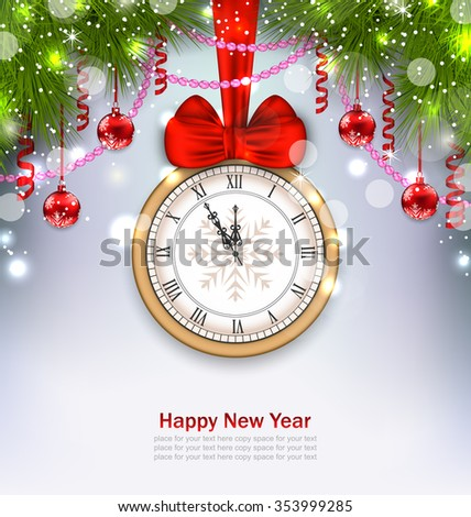 Illustration New Year Midnight Background with Clock, Balls and Fir Twigs - raster - stock photo