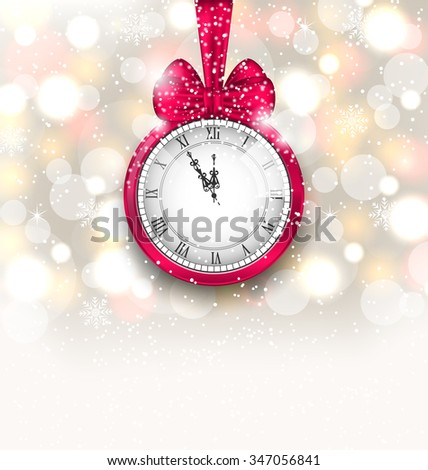 Illustration New Year Midnight Sparkling Background with Clock and Bow - raster - stock photo
