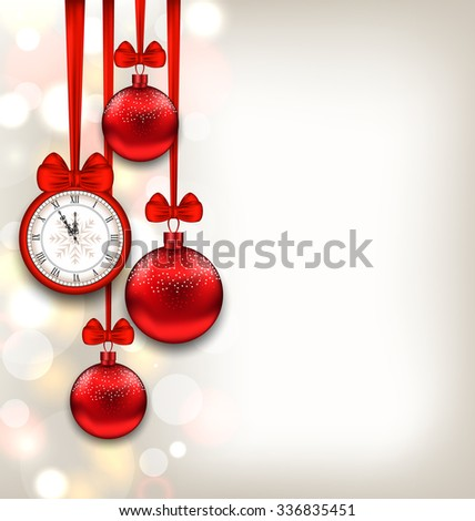 Illustration New Year Shimmering Background with Clock and Glass Balls - raster - stock photo