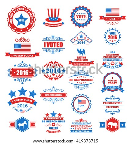 Illustration Objects and Symbols for Vote of USA. Set Typographic Elements, Modern Labels, Frames, Ornaments - raster - stock photo