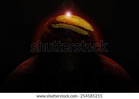 Illustration of a alien planet. - stock photo