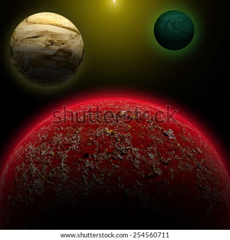 Illustration of a alien planet surrounded by two strange moons. - stock photo