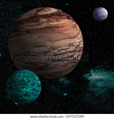 Illustration of a alien planet surrounded by two strange moons. Alien planet. - stock photo