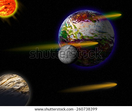 Illustration of a alien planets. - stock photo