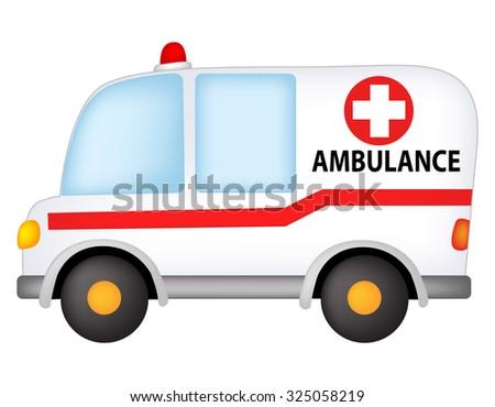 Illustration of a ambulance isolated on white background - stock photo