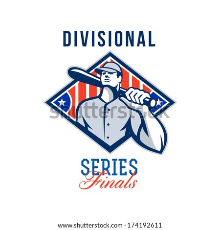 Illustration of a american baseball player batter hitter holding bat on shoulder set inside diamond shape with stars and stripes done in retro style with words Divisional Series Finals. - stock photo