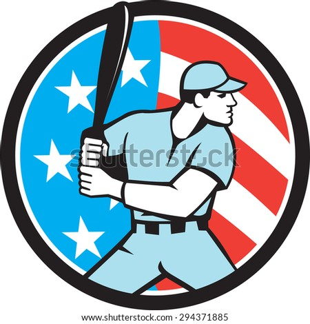 Illustration of a american baseball player batter hitter holding bat viewed from the side set inside circle with usa flag stars and stripes in the background done in retro style.
