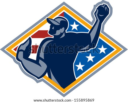 Illustration of a american baseball player outfilelder throwing ball isolated on white background.