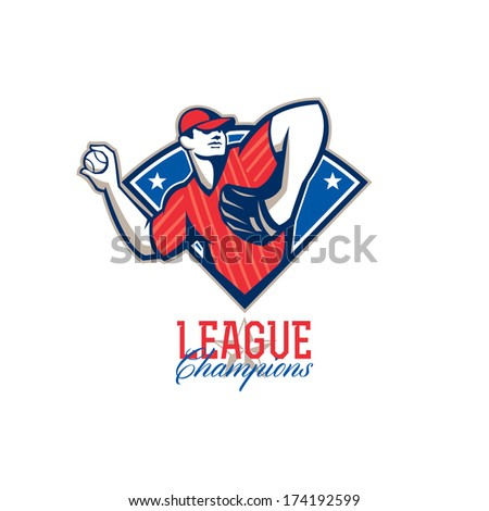 Illustration of a american baseball player pitcher outfielder throwing ball with words League Champions. - stock photo