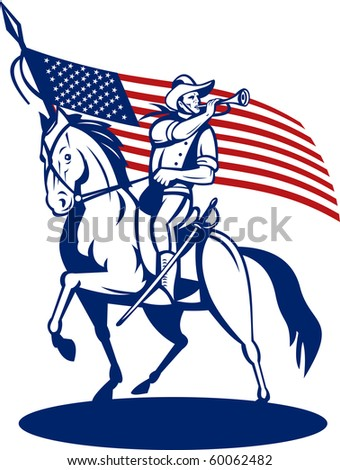 illustration of a American cavalry riding horse blowing a bugle and stars and stripes flag in background