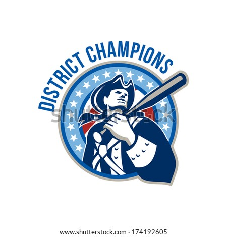 Illustration of a american patriot holding baseball bat on shoulder looking up set inside circle shape with stars and stripes done in retro style with words District Champions. - stock photo